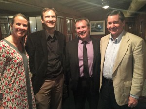 Pictured left to right: RBA Dean of K-2 curriculum Jennifer London, Highlands Instructor and Assistant Director of Memoria Press Dr. Brett Vaden, RBA Dean of 3-8 English and History Doug Franks, and Director of the Classical Latin School Association Martin Cothran.